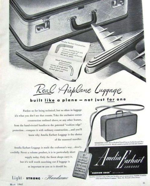 Amelia Earhart luggage ad 1947 a