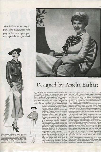 Amelia Earhart patterns magazine article