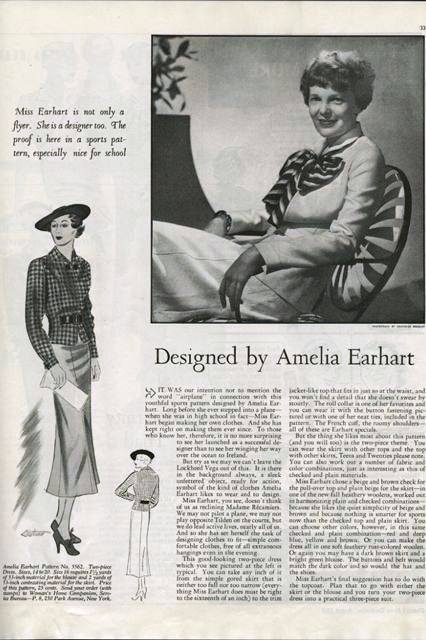 Amelia Earhart patterns magazine article
