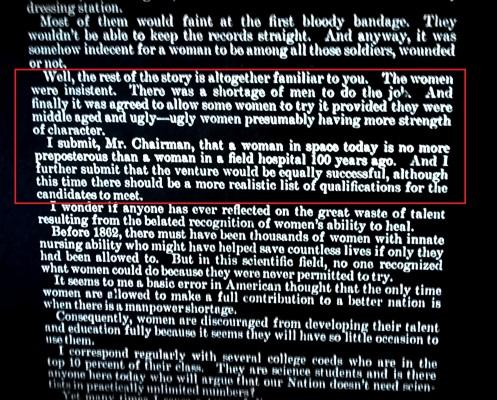 Mercury 13 testimony highlight