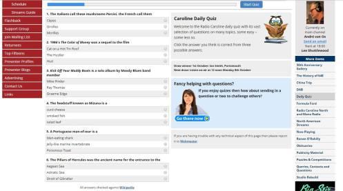 Radio Caroline Daily Quiz example