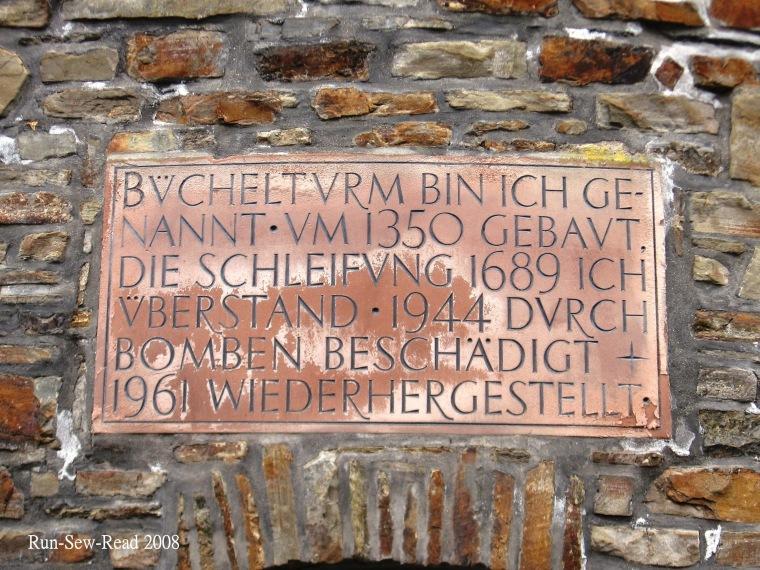 Buchel Tower St Vith plaque a