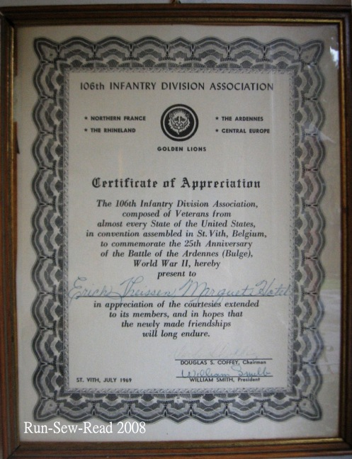Certificate for St Vith Inn Owners
