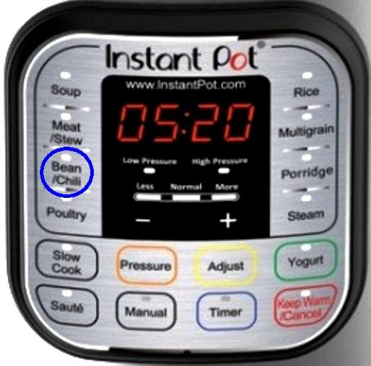 instant-pot bean chili button
